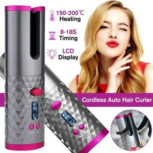 Cordless Automatic Hair Curlers Auto Rotating Wireless Ceramic Curling Iron Wand