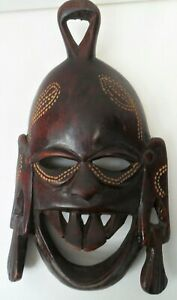 """Vintage Wooden Mask/Sculpture Hand Carved Tribal Art Wall Hanging 8.5"""" x 5.0"""""""