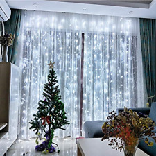 FSBMIN 300 LED Curtain Lights,USB White Decoration Window Lights,3X3M,Remote 8