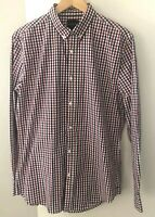 Industrie Men's Large Shirt Red Navy White Check Long Sleeves Collar Cotton