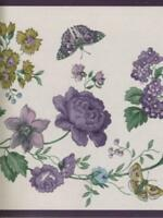 Croscill Chambord BORDEAUX Cassis Purple Roses Floral Scroll Wallpaper Border