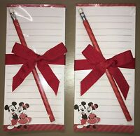 2x Hallmark Disney MICKEY & MINNIE MOUSE 75 Sheet Magnet Memo Note Pads W/Pencil