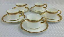 Antique Cauldon Bone China Gold Small Coffee Cups & Saucers x5