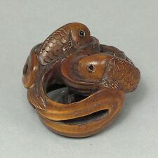 "1940's Japanese handmade Boxwood Wood Netsuke ""two carp fish"" Figurine Carving"