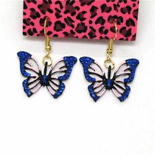 Hot Blue Enamel Bling Crystal Butterfly Girl Betsey Johnson Women Stand Earrings