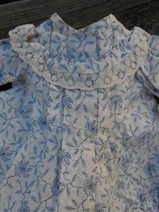 Très jolie robe fleurettes bleues BB JUMEAU d'époque fin XIXème !