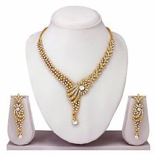 Indian Bollywood Style Fashion Wedding Gold Plated Diamond Necklace Earrings Set