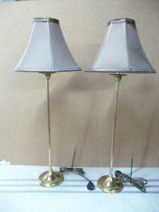 """Brass Buffet Lamp S/2 29"""" Brass Made in England Candlestick"""