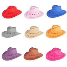 Fashion Unisex Cowboy Wide Brim Cap Western Straw Hats Sun Visor Cap Knight Hat