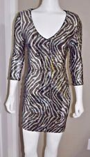 GUESS WOMEN'S SEQUIN SILVER GOLD & BLACK DRESS 3/4 SLEEVES SIZE 2 NWT