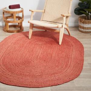 Rug 100% Natural Jute Braided style handmade Area Carpet Rug Reversible Oval Rug