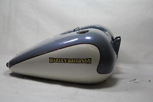 Federal Grey Metallic Pearl White Fuel Tank 2002 FXDWG Dyna gas Harley EPS21987
