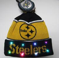 Pittsburgh Steelers NFL KNIT LED Light Up Hat Winter Pom Beanie Cap black cuffed