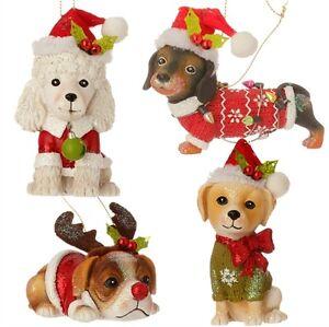 RAZ - GORGEOUS CHRISTMAS PUPPY ORNAMENTS!  CHOOSE 4x DESIGNS - SIZES 6 -10 cm