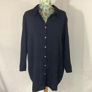 Agenda Black Women's Blouse T shirt size 20 / XL Button up long/half Sleeved