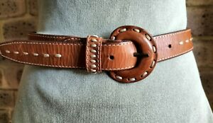 Vintage leather Belt Country Road Oversized Leather Buckle Size L (S/M)