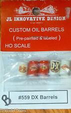 JL Innovative Design #559B Custom Oil BarrelS (5) -- DX (red, cream) HO SCALE