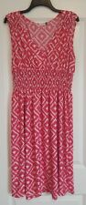 Plum Feathers 3X plus dress ikat red knee-length sleeveless casual polyester
