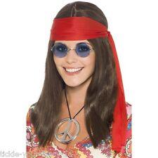 Womens Hippy Chick Costume Kit Fancy Dress 70s Hippie Rock Peace Beatles Ladies