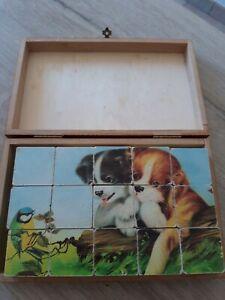 jouet Cube en bois scène animalière