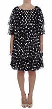 Dolce & Gabbana Black White Polka Dotted Ruffled Dress It 40