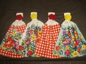 (4) Set Pioneer Woman Crochet Top Kitchen Towels Sweet Romance