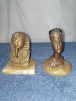 Egyptian Decorative Metal Figures Pharaoh King Tut / Nefertit Head Marble Base