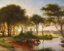 Danish Summer Landscape by Carl Aagaard Art Women River Trees Cow 8x10 Print 560