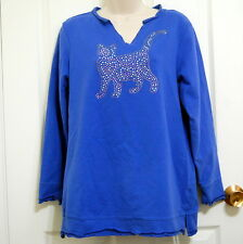 Quacker Factory Blue Rhinestone Jeweled Cat Cotton Blend Sz S Comfy