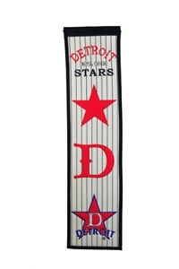 """DETROIT STARS EMBROIDERED WOOL HERITAGE BANNER 8""""X32"""" NEGRO LEAGUES"""