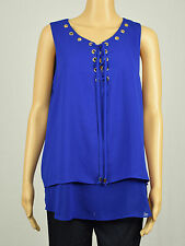 INC International Concepts Womens Blue Lace-Up Double-Layer Blouse Top 14