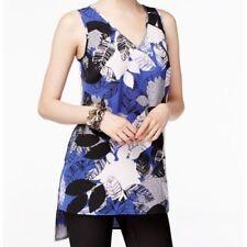 ALFANI 6 New Royal Blue Floral Sleeveless Chiffon Blouse Long Tank Top  $59 NWT