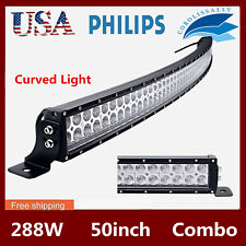 50inch 288W LED Curved Work Light Bar Spot Flood Driving SUV Off road 4WD PK 52""