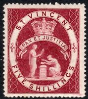 St Vincent 1885 lake 5/- crown CA perf 14 mint SG53