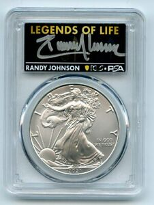 2021 (P) $1 Silver Eagle Emergency T1 PCGS MS70 Legends of Life Randy Johnson