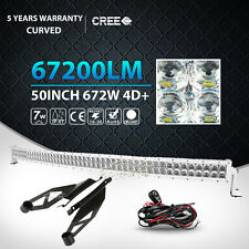 4D WHITE 50Inch 672W CURVED LED LIGHT BAR+MOUNT BRACKET FIT FOR TOYOTA TUNDRA 52
