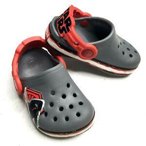 Crocs STAR Wars Kylo Ren Villain Baby Toddler 4-5 Gray Slip On Mule Clog Sandals