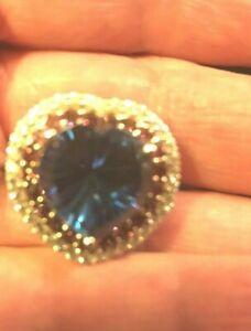 Big Blue Quartz Heart Ring with Accent Gemstones Size 9 .925/Platinum