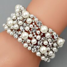 Rhodium Plated Pearl Clear Crystal Bridal Wedding Bangle Cuff Stretch Bracelet 3