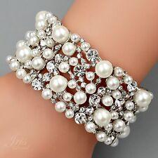 Rhodium Plated Pearl Clear Crystal Bridal Wedding Bangle Cuff Stretch Bracelet 3