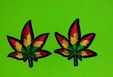 2 Rasta Pot leaf ganja marijuana cbd weed retro boho hippie iron-on patch USA
