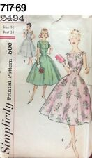 VTG Sewing Pattern Simplicity #2494 Size 14 Bust 34 Dress 1958