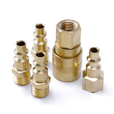 "5Pcs 1/4"" NPT Brass Quick Coupler Set Solid Air Hose Connector Fittings Tools"