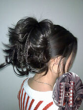 New dark brown bendable wires short hairpiece tiny braids claw clip ponytail