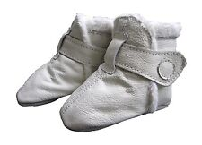 carozoo booties white 18-24m soft sole leather baby shoes