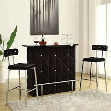 "Doreen Contemporary Chrome Black Velvet Bar Server Table 29"" Bar Stools x 2"