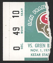 1970 49ERS vs PACKERS Football Game Ticket Stub