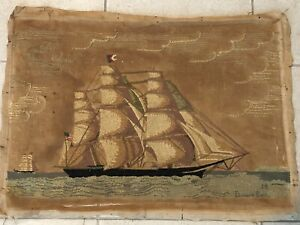 The Flying Cloud Nautical Ship Handmade Canvas Needlework 1938 Elinore Bell