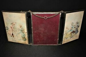 Rare Antique E.C. Depose 3-Panel Triptych Mirrors with Silk Scenes Ca.1890 Spain