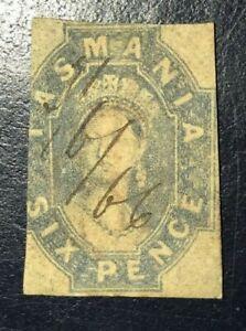 Tasmania 1855-67 6d Grey-blue Imperf